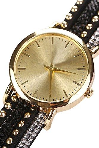Frauen Strass Crystal Nieten Armband Quarz geflochten wickeln Wrap Wrist Watch Black