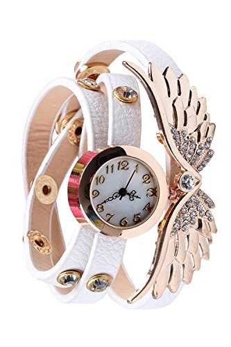 Frauen Damen Engel Fluegel Strass PU Leder Armband Quarz Wrist Watch White