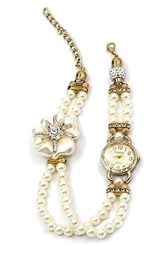 Frauen Damen dekorative kuenstliche Perle Armband Flower Armband Strass Dial Quartz Wrist Watch Golden weisse Blume Stil
