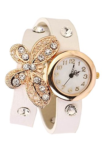 Frauen Damen Schmetterling Anhaenger Strass PU Leder lange Armband Armband Quarz Armbanduhr