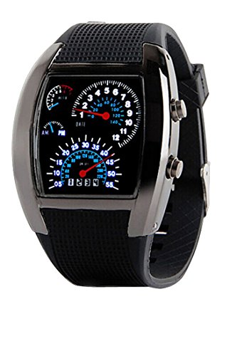 LED Licht digitale Wrist Watch Auto Meter Dial Schwarzes