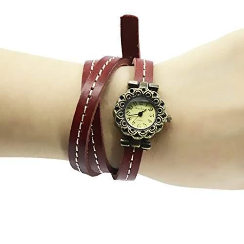 Vintage Retro PU Leder langkettigen Wrap Armband Armbanduhr Wrist Watch Lust Urlaub Geburtstagsgeschenk fuer Maedchen Frauen Damen Rot