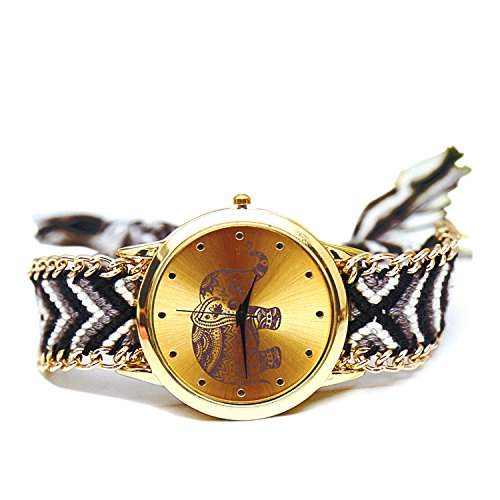 Frauen Damen Elefant Muster gewebte Seil Band Armband Quarz Zifferblatt Wrist Watch bunt schwarz