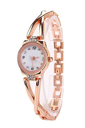 Rotgold plattiert Frauen elegante Strass Armbanduhr Quartz Watch Damen Kleid