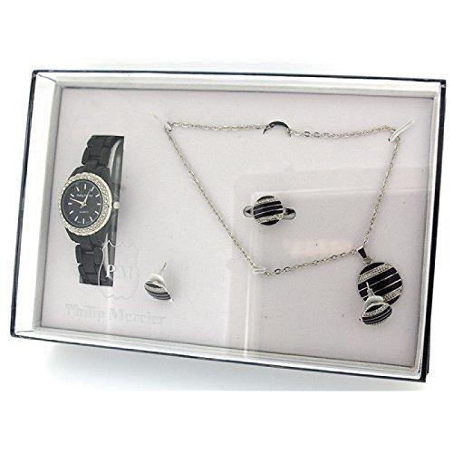 PHILIP MERCIER GIFT22B Geschenkset bestehend aus Plastik Damenarmbanduhr Halskette Ohrringen und Ring