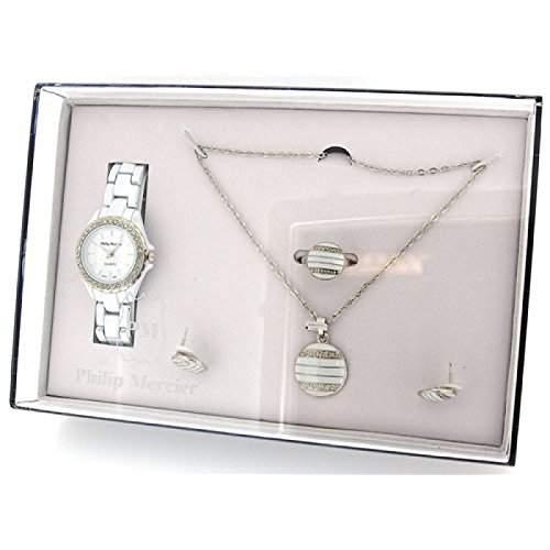 PHILIP MERCIER GIFT222A Geschenkset fuer Damen bestehend aus Plastikuhr, Halskette & Ohr- und Fingerschmuck