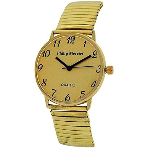 Philip Mercier goldfarbene Herrenuhr mit dehnbarem Armband MC45B