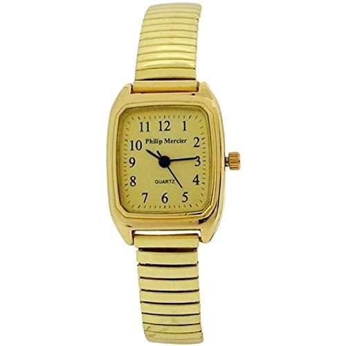 Philip Mercier goldfarbene Damenuhr mit dehnbarem Armband MC48B