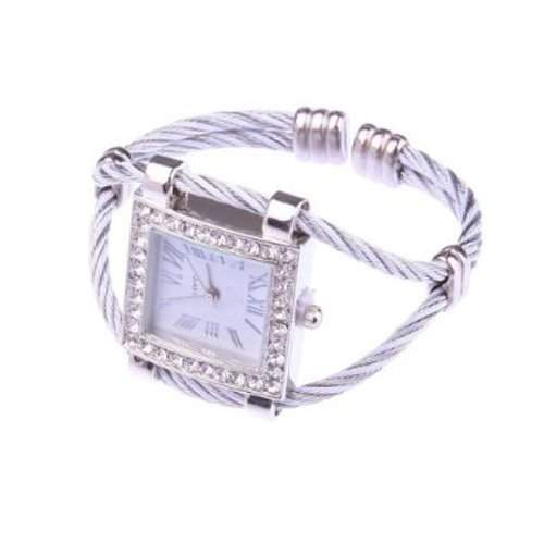Gleader Weiss Mode-Stilvoll Dame Maedchen Roemisch Zifferblatt-Platz-Armband-Armbanduhr