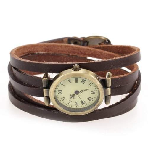 Gleader Mode Uhr Quarzuhr Armbanduhr Herrenuhr Damenuhr Unisex PU Oval Dunkelbraun HOT