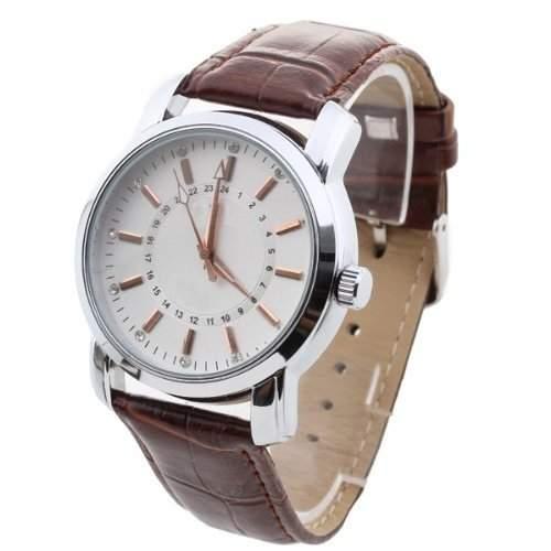 Gleader Herren Uhr Herrenuhr Armbanduhr Quarzwerk Quarzuhr PU Leder mit Strass Braun