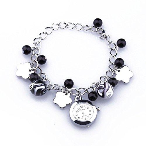 Gleader Armbanduhr Armreif Uhr Bettelarmband Uhr mit Anhaenger Mode