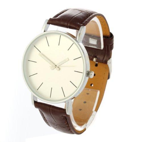 Gleader Armbanduhren Armbanduhr Quarz Uhr Herren Kunstleder Watch Laessig Trend Braun