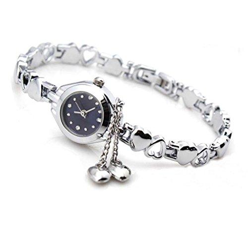 Gleader Fashion Frauen Silber Quarz Herz Charme Verbindungs Ketten Armband Armbanduhr