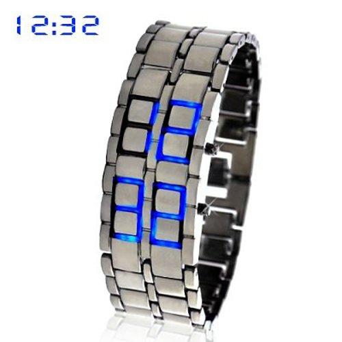 Gleader blaue LED Digitaluhr Lava Eisen Stil Metall Sportuhr