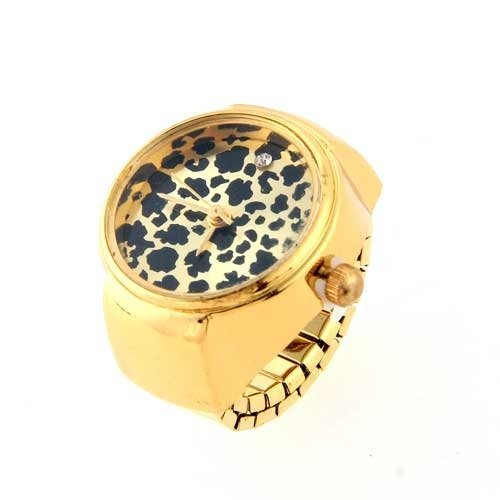Gleader Rund Ringuhr Finger Uhr Finger uhr Uhrenring Leopard Gold Top