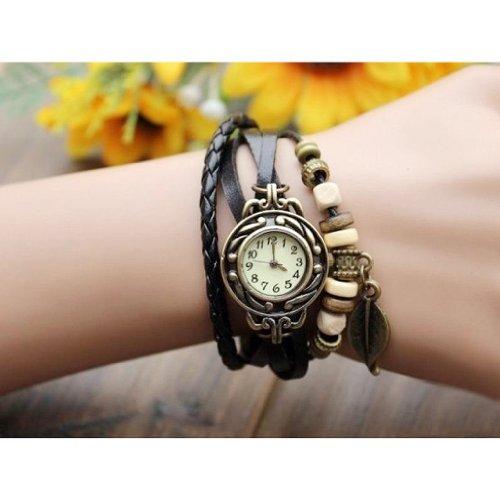 Gleader Uhr Schmuck Leder Armbanduhr Armreif Quarzuhr Blatt Schwarz