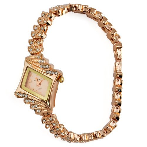 Gleader Mode Zifferblatt Bling Kristall Dame Quarzuhr Armbanduhr