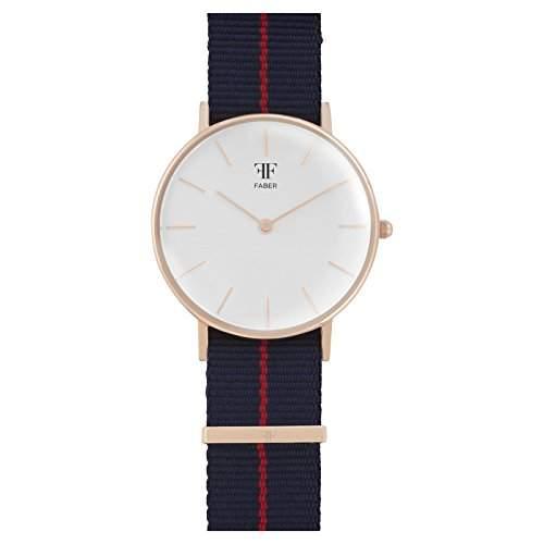 Faber Damen-Armbanduhr Textilarmband Edelstahlgehaeuse Saphirglas analog Quarz F101RG