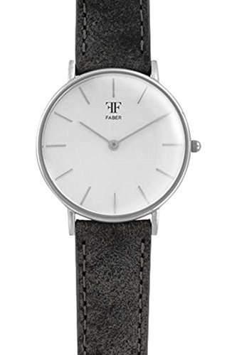 Faber Damen-Armbanduhr Lederarmband Edelstahlgehaeuse Saphirglas analog Quarz F911SL
