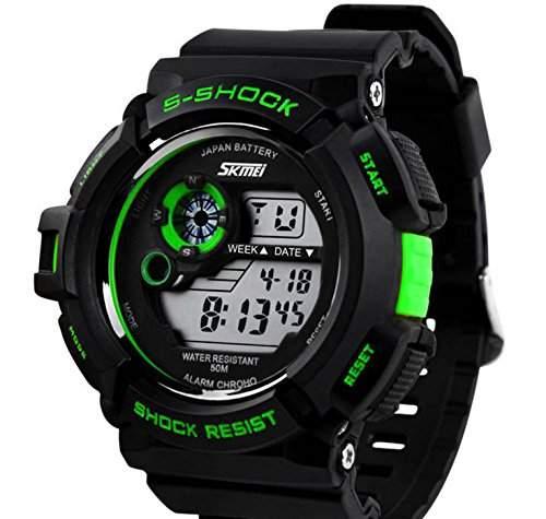 LED Armbanduhr Herrenuhr Herren Sport Uhren Digital Gummi watch schwarz gruen wasserdicht