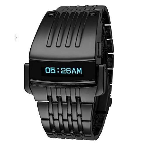 Cool design Herrenarmbanduhr LED digital Armbanduhr Herrenuhr Herren Uhren Edelstahl schwarz