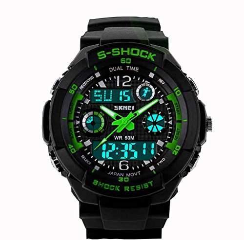 LED Armbanduhr Herrenuhr Herren Sport Uhren Analog Digital gruen schwarz watch