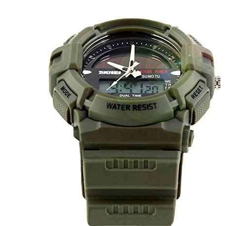 LED Armbanduhr Herrenuhr Herren Sport Uhren Digital Gummi watch gruen wasserdicht Beleuchtung