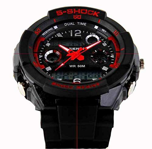 LED Armbanduhr Herrenuhr Herren Sport Uhren Digital Gummi watch wasserdicht Beleuchtung rot schwarz