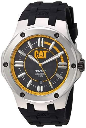 Cat MenHerren Quarzuhr mit schwarzem Zifferblatt Analog-Anzeige und schwarzem Kautschukband A114121127