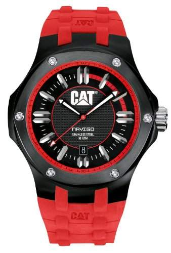 Cat MenHerren Quarzuhr mit schwarzem Zifferblatt Analog-Anzeige und-Red Rubber Strap A116128128