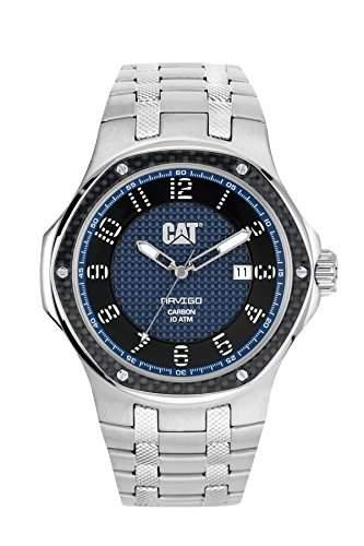MenCat Navigo Carbon-Datum Herren Quarzuhr mit blauem Zifferblatt Analog-Anzeige und Silber-Edelstahl-Armband A514111616