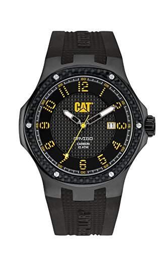 Cat Navigo Carbon Herren Quarzuhr mit schwarzem Zifferblatt Analog-Anzeige und schwarz Silikon Strap a516121111