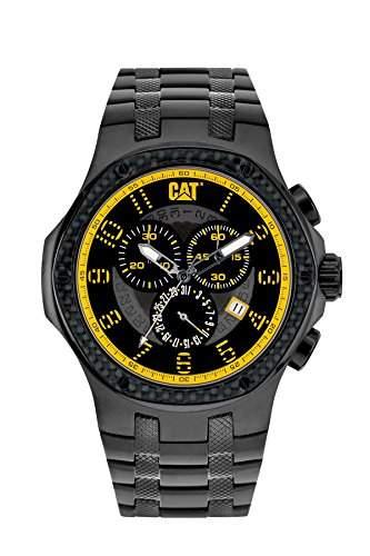 Katze vergoldet Navigo-Herren-Quarzuhr mit schwarzem Zifferblatt Analog-Anzeige und Silber Edelstahl Armband a516316117