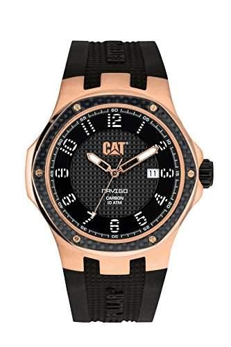 Cat Navigo Carbon Herren Quarzuhr mit schwarzem Zifferblatt Analog-Anzeige und schwarz Silikon Strap a519121119