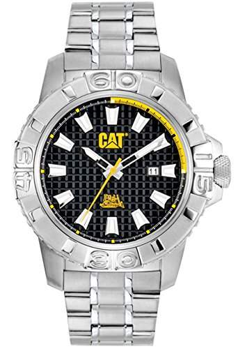 Cat MenAlaska-Datum Herren Quarzuhr mit schwarzem Zifferblatt Analog-Anzeige und Silber-Edelstahl-Armband CA14111127