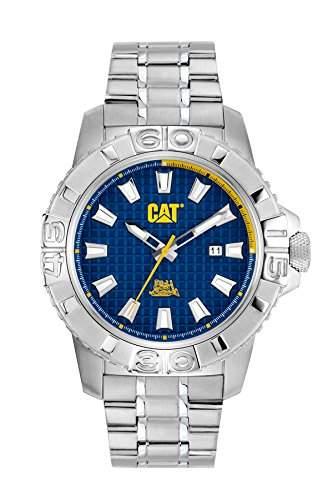 Cat MenAlaska-Datum Herren Quarzuhr mit blauem Zifferblatt Analog-Anzeige und Silber-Edelstahl-Armband CA14111627