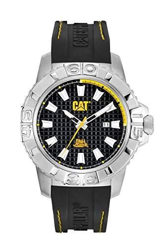 Cat Alaska Herren Quarzuhr mit schwarzem Zifferblatt Analog-Anzeige und schwarz Rubber Strap ca 14127127