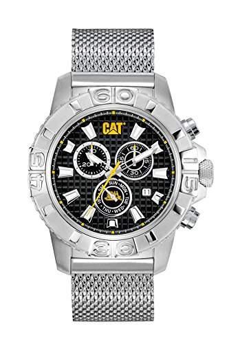 Katze Alaska Chrono Herren-Quarzuhr mit schwarzem Zifferblatt Analog-Anzeige und Silber Edelstahl Armband ca 14301121