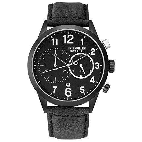 Caterpillar Extend Mens Black Leather 24 hour Date Watch Ex 163 34 112