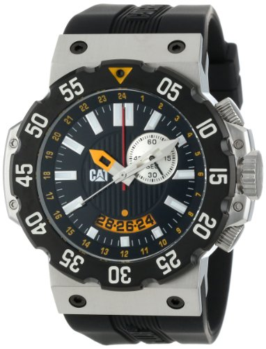 CAT Herren D314521124 Deep Ocean Chrono Black Analog Dial and Stainless Steel Case with Black Rubber Strap Uhr