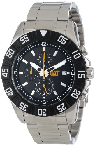 CAT Herren PM14311131 DP Sport Chrono Black Analog Dial with Stainless Steel Bracelet Uhr