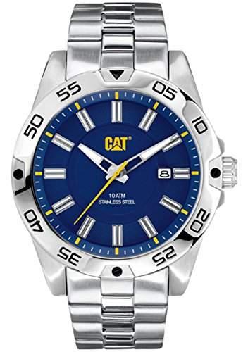 Cat Level 3HD Herren Quarzuhr mit blauem Zifferblatt Analog-Anzeige und Silber Edelstahl Armband in 14111626
