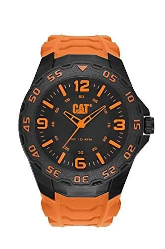 Cat Herren-Armbanduhr Analog Quarz schwarzes Zifferblatt orangefarbenes Gummiband LB11124134