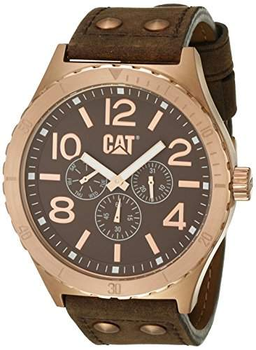 Caterpillar Mens Brown Leather Day & Date Seconds Sub Dial Watch NI19935939