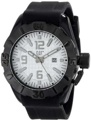 Cat MenQuarz-Uhr mit weissem Zifferblatt Analog-Anzeige und Schwarz-Silikon-Buegel P116121222