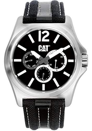 Cat MenHerren Quarzuhr mit schwarzem Zifferblatt Analog-Anzeige und schwarzem Textilband PK14962132