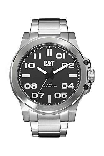 Katze Chicago 3HD Herren-Quarzuhr mit schwarzem Zifferblatt Analog-Anzeige und Silber Edelstahl Armband PS 14111122
