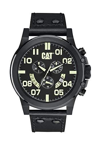Katze Chicago Herren-Quarzuhr mit schwarzem Zifferblatt Analog-Anzeige und schwarz Lederband PS 16335134