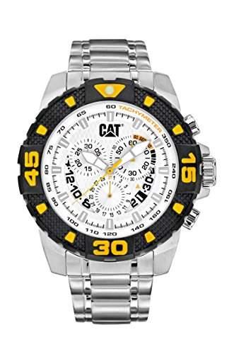 Cat DP Sport Evo Herren Quarz-Armbanduhr mit Silber Zifferblatt Analog-Anzeige und Silber Edelstahl Armband PT 14311227